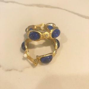 Kenneth J. Lane blue and gold clip on earrings